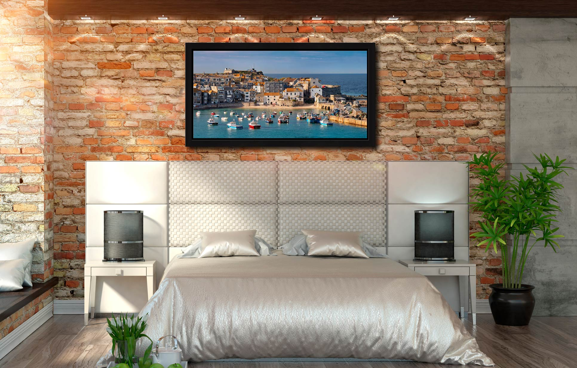 St Ives Harbour Beach - Black oak floater frame with acrylic glazing on Wall