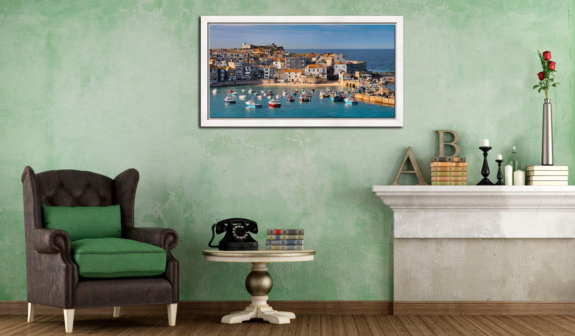 St Ives Harbour Beach - White Maple floater frame with acrylic glazing on Wall