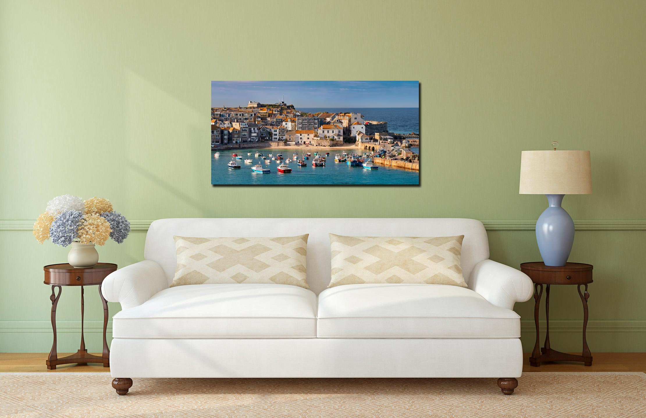 St Ives Harbour Beach - Print Aluminium Backing With Acrylic Glazing on Wall