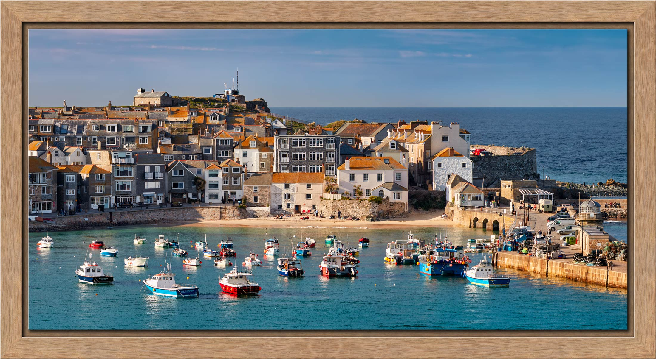 St Ives Harbour Beach - Oak floater frame with acrylic glazing