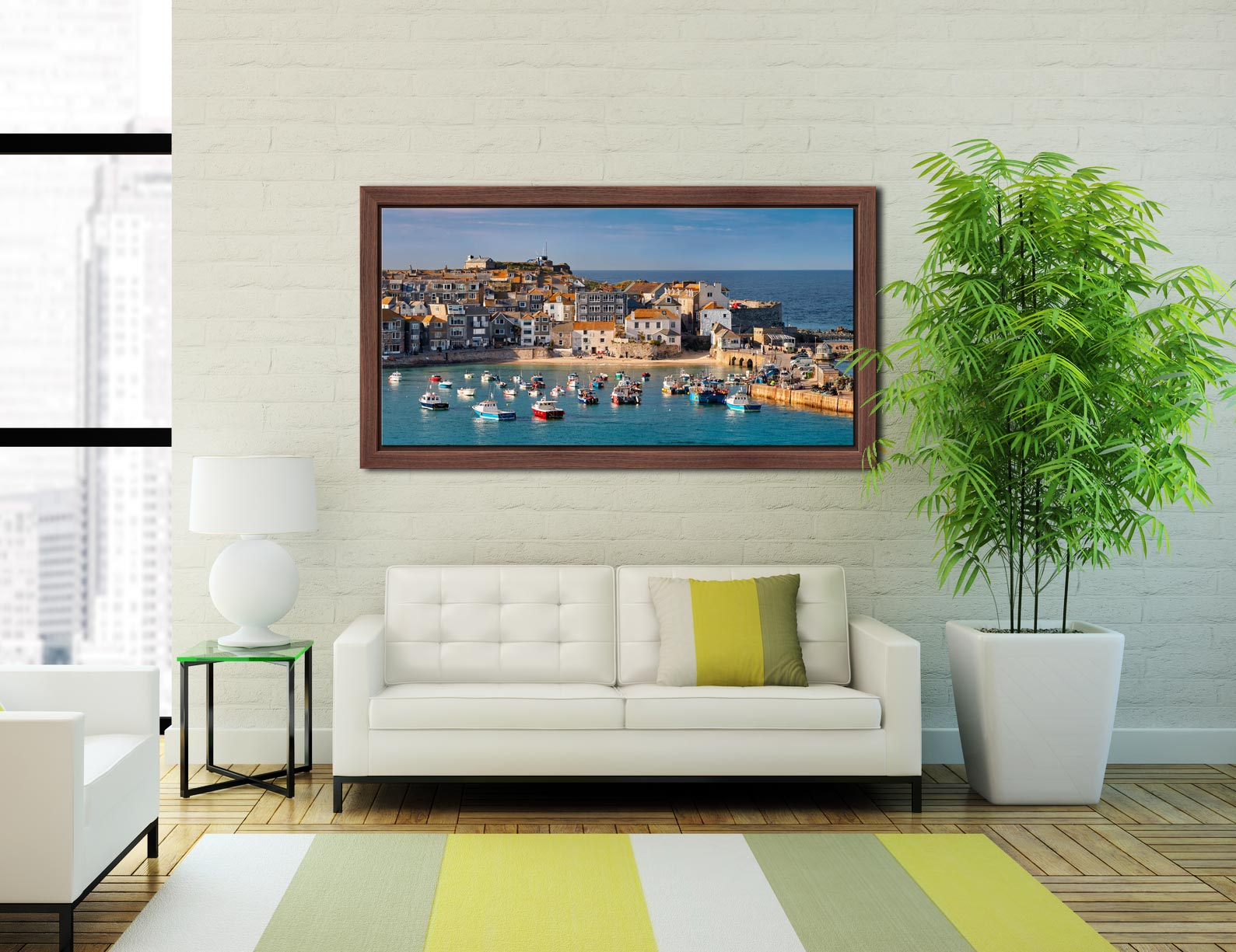 St Ives Harbour Beach - Walnut floater frame with acrylic glazing on Wall