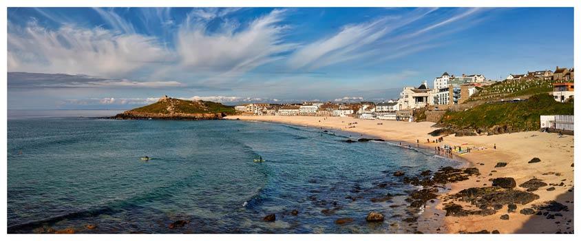 Porthmeor Beach Green Ocean - Cornwall Print