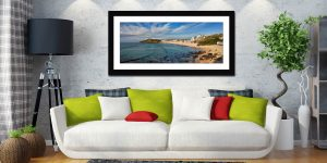 Porthmeor Beach Green Ocean - Framed Print with Mount on Wall