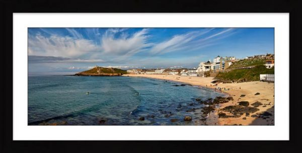 Porthmeor Beach Green Ocean - Framed Print with Mount