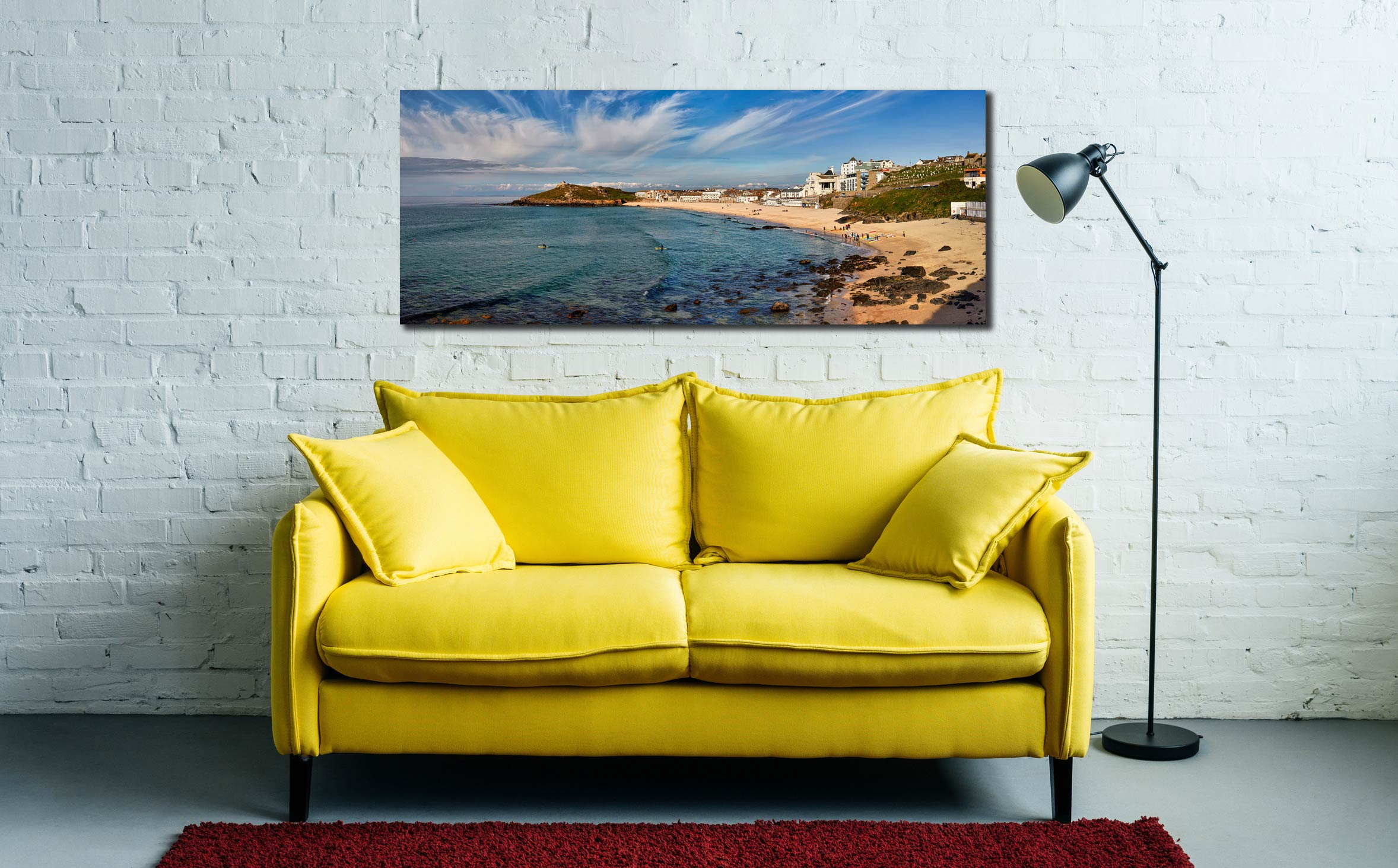 The green waters and golden sands of Porthmeor Beach in St Ives - Print Aluminium Backing With Acrylic Glazing on Wall