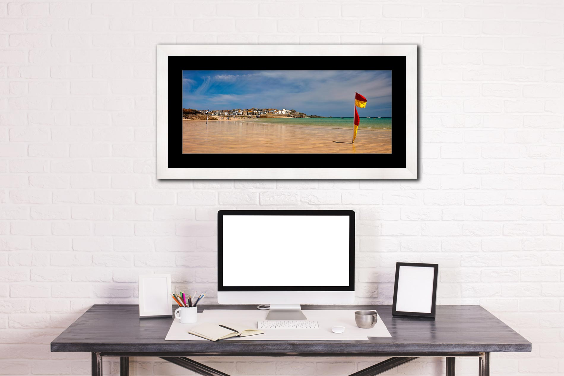 Porthminster Beach St Ives - Framed Print with Mount on Wall