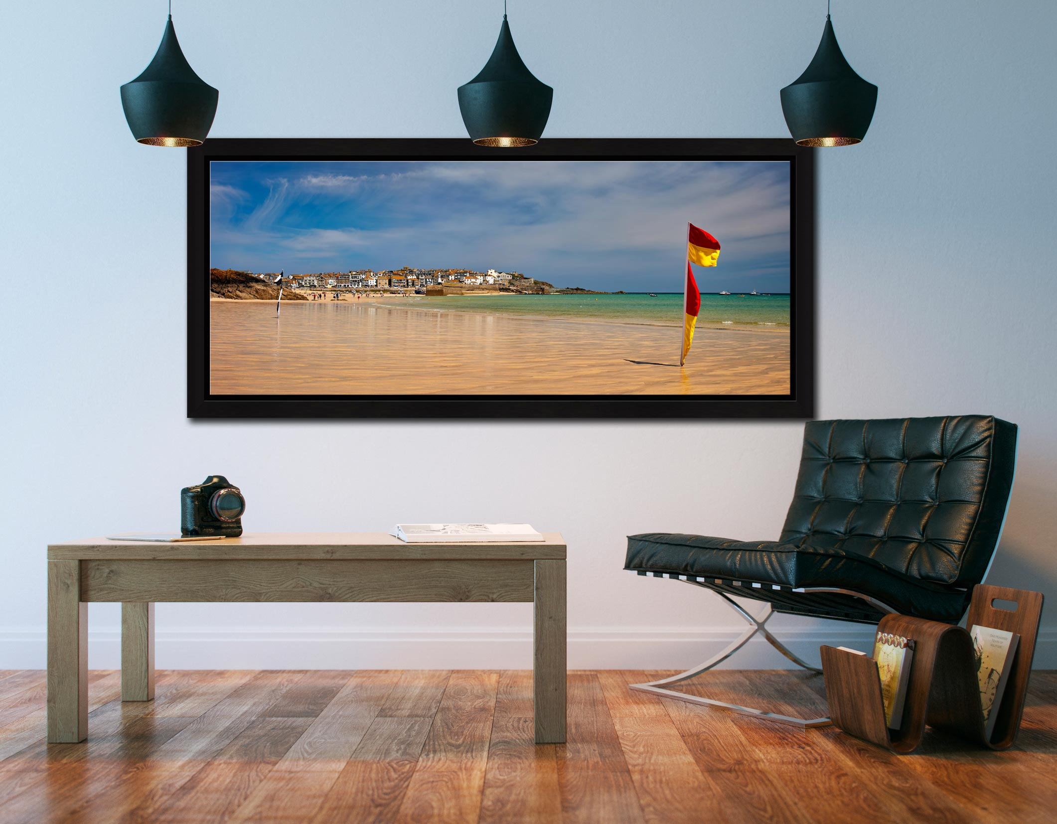 The golden sands and green waters of Porthminster Beach in St Ives - Black oak floater frame with acrylic glazing on Wall