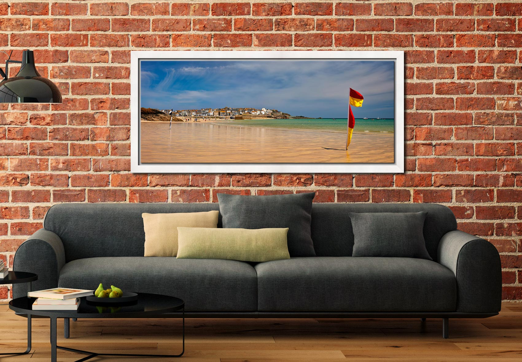 The golden sands and green waters of Porthminster Beach in St Ives - White Maple floater frame with acrylic glazing on Wall