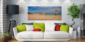 The golden sands and green waters of Porthminster Beach in St Ives - Print Aluminium Backing With Acrylic Glazing on Wall