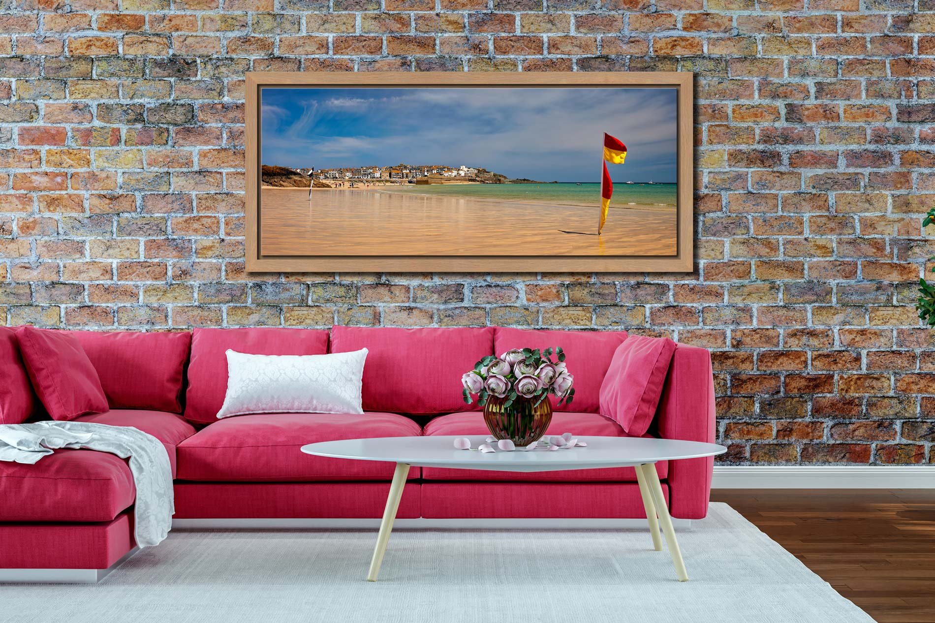 The golden sands and green waters of Porthminster Beach in St Ives - Oak floater frame with acrylic glazing on Wall