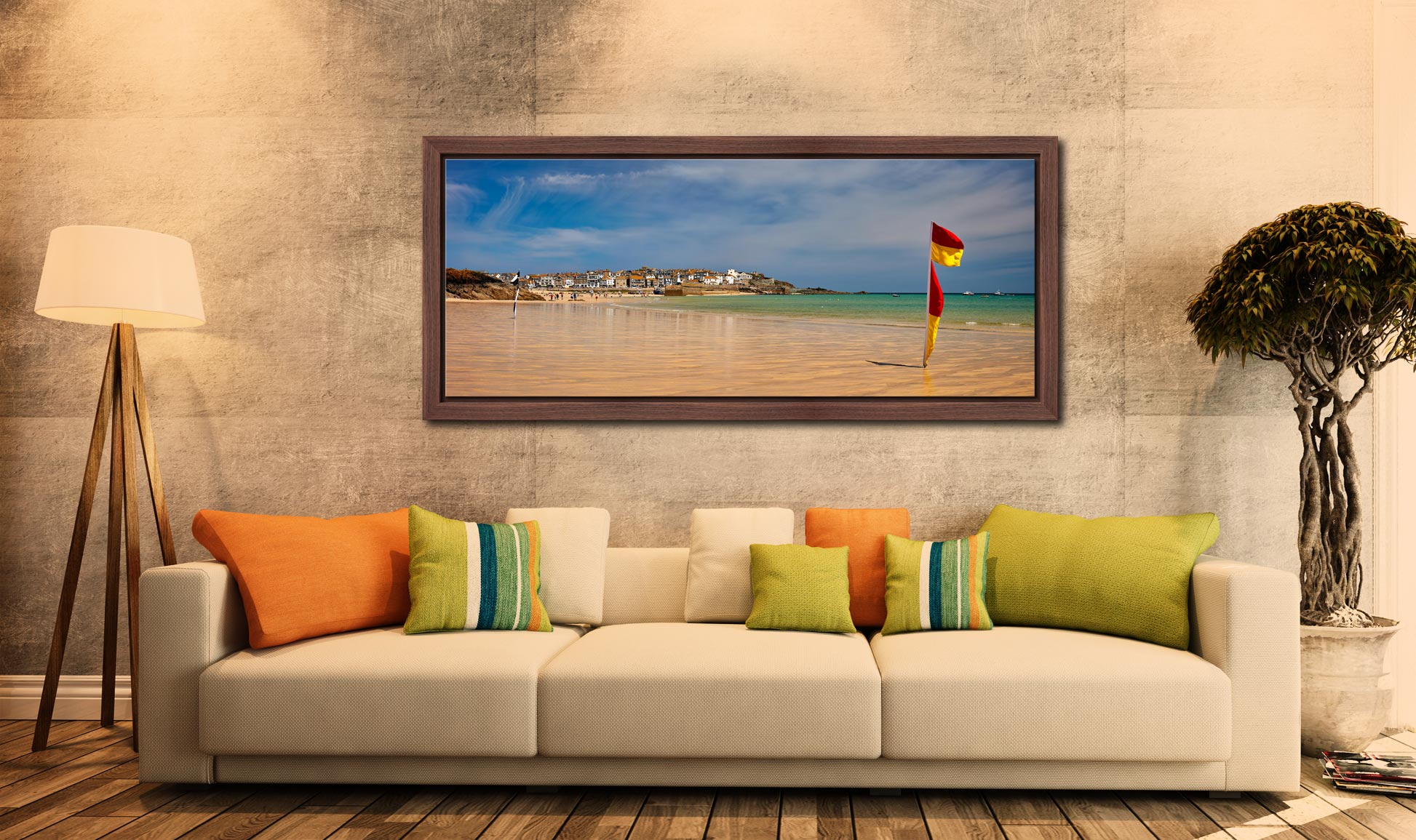 The golden sands and green waters of Porthminster Beach in St Ives - Walnut floater frame with acrylic glazing on Wall