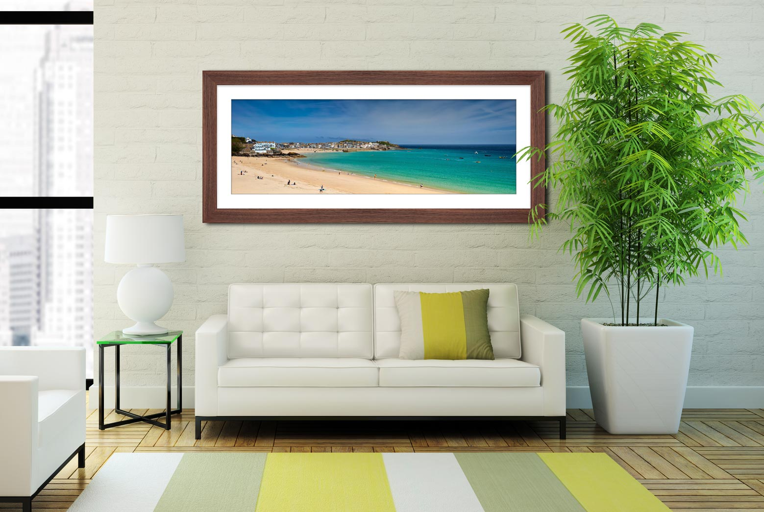 St Ives Bay Porthminster Beach - Framed Print with Mount on Wall