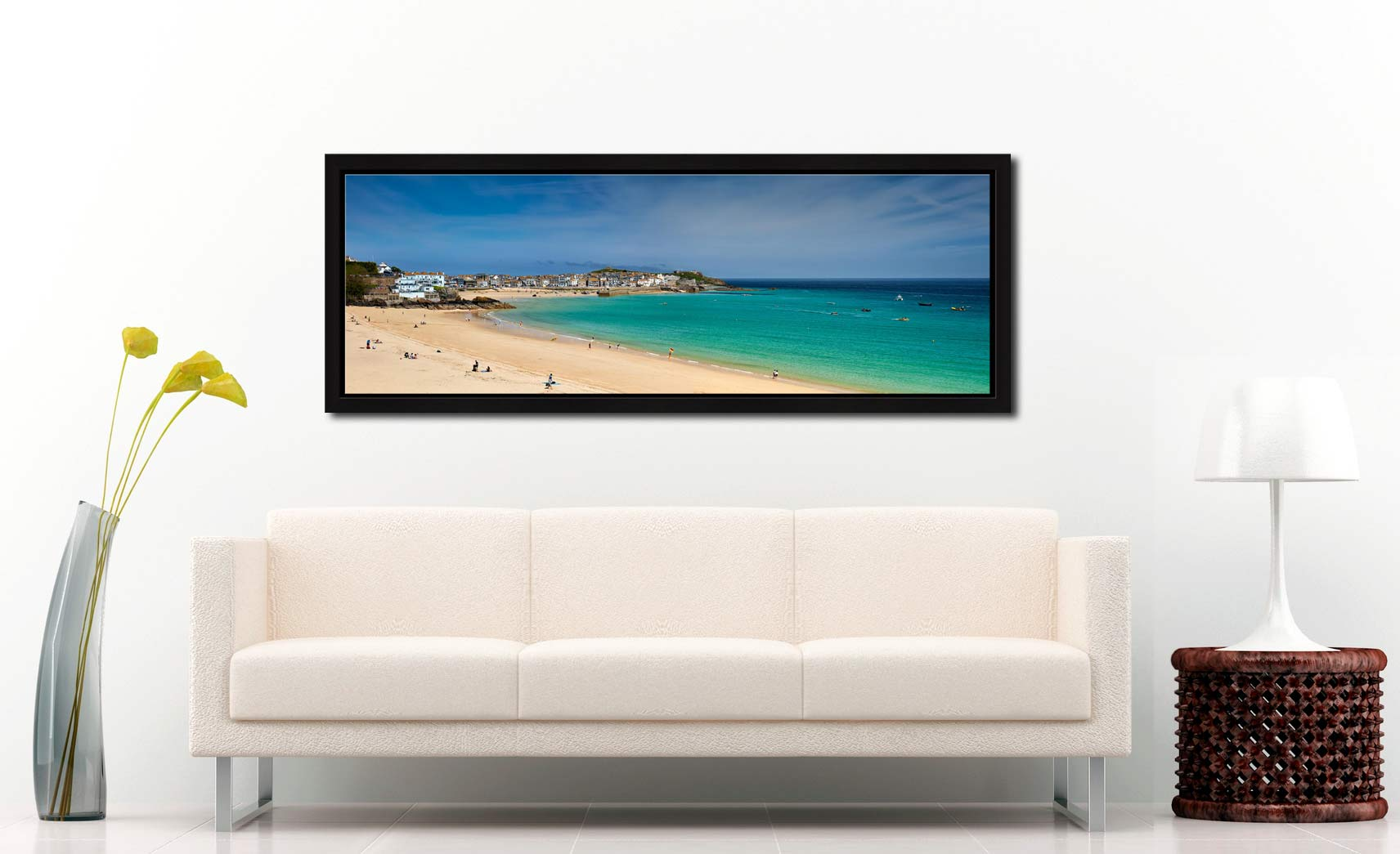 View over the green waters of St Ives Bay from Porthminster Beach - Black oak floater frame with acrylic glazing on Wall