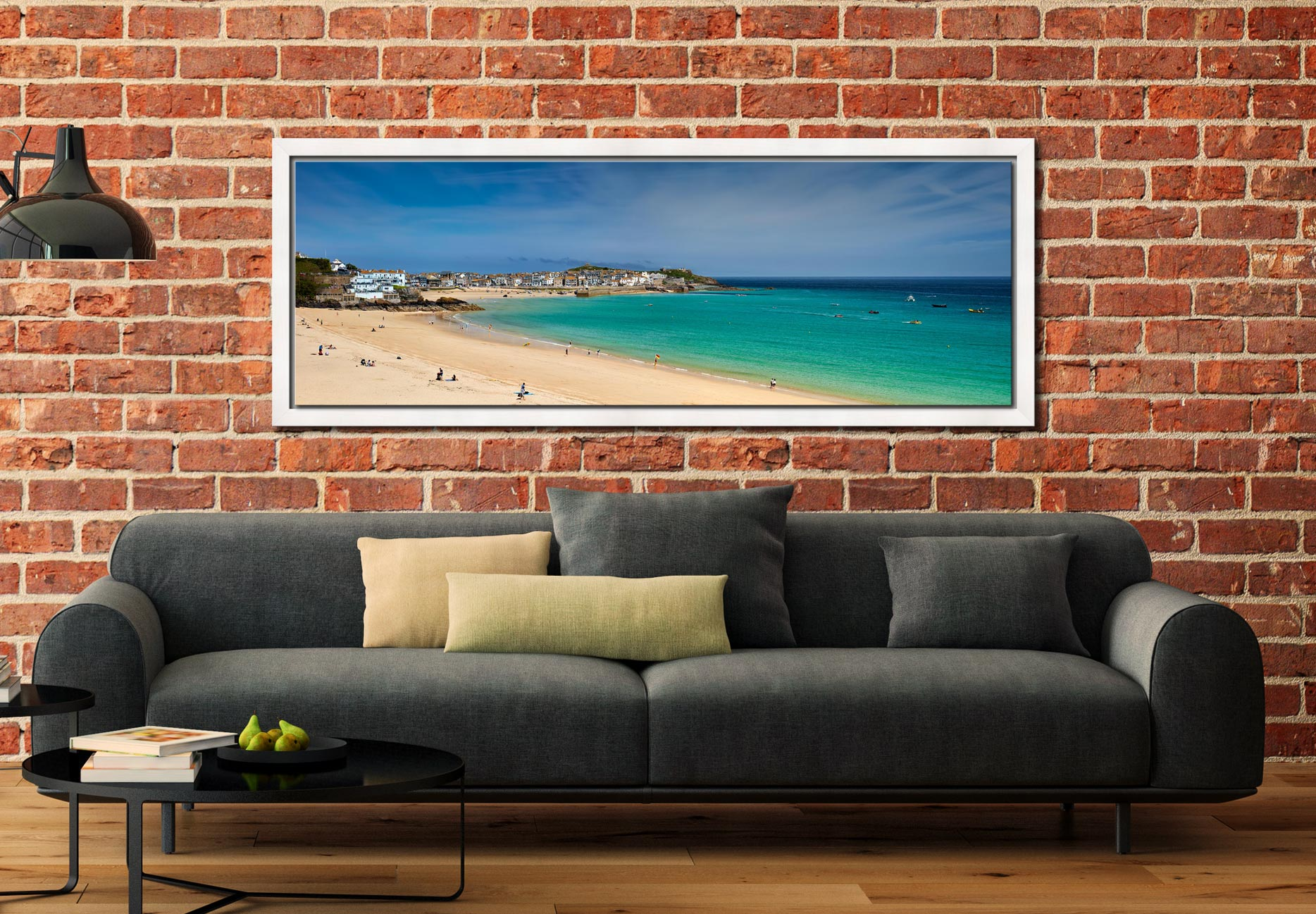 View over the green waters of St Ives Bay from Porthminster Beach - White Maple floater frame with acrylic glazing on Wall