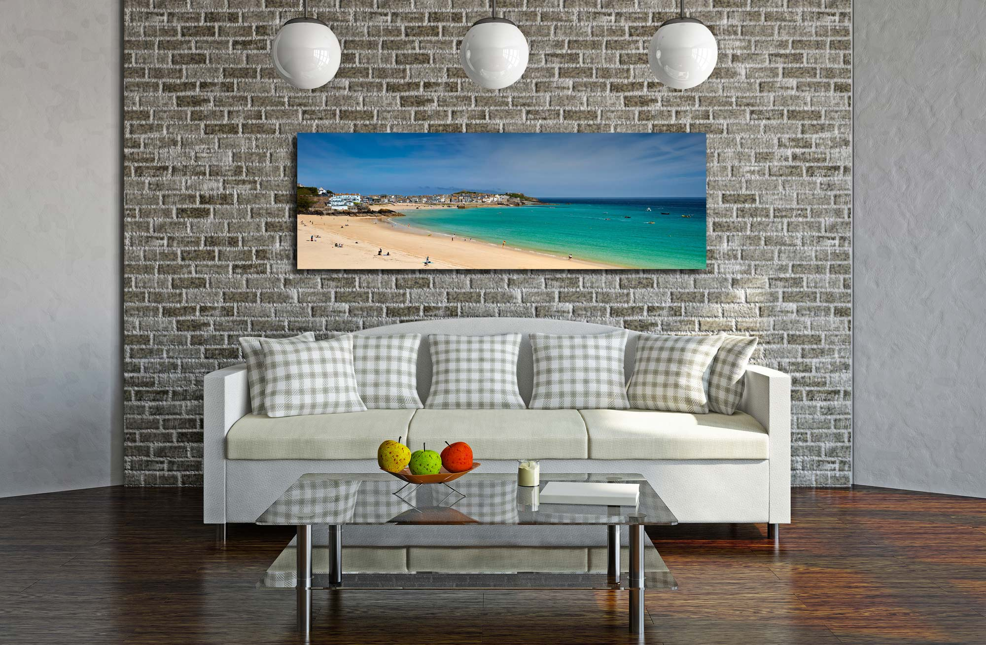 View over the green waters of St Ives Bay from Porthminster Beach - Print Aluminium Backing With Acrylic Glazing on Wall