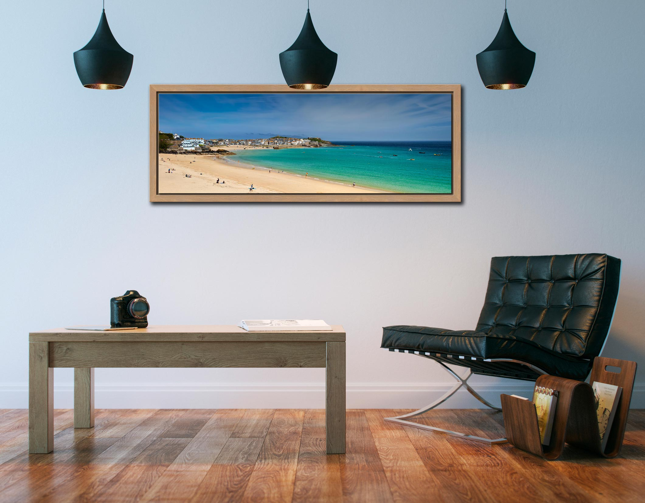 View over the green waters of St Ives Bay from Porthminster Beach - Oak floater frame with acrylic glazing on Wall
