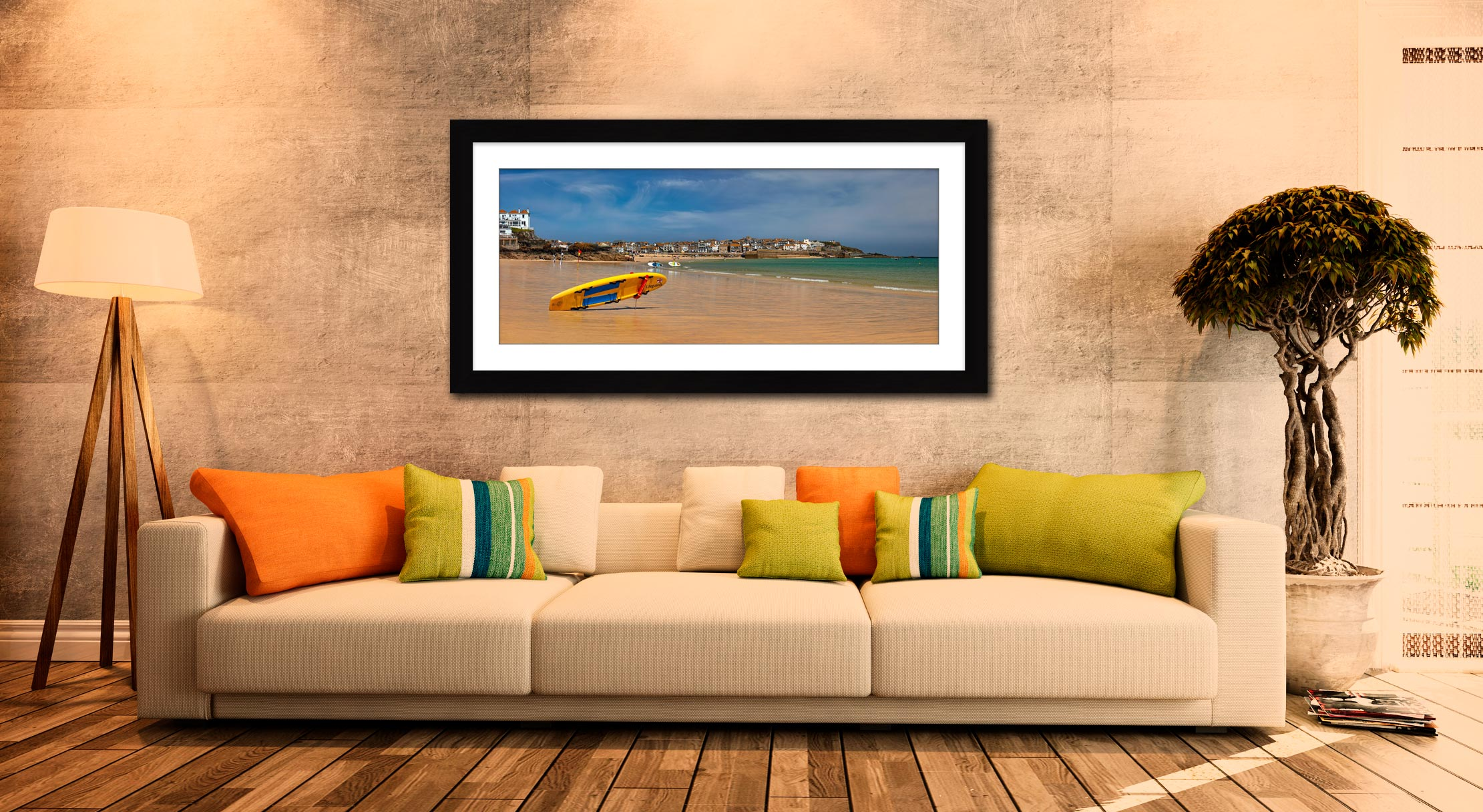 Lifeguard Porthminster Beach - Framed Print with Mount on Wall