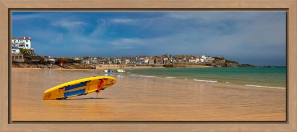 The lifeguards board on the golden sands of Porthminster Beach in St Ives