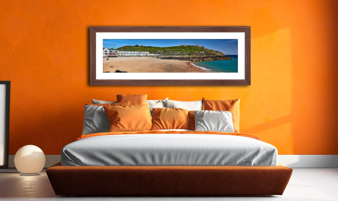 Porthgwidden Beach and The Island - Framed Print with Mount on Wall