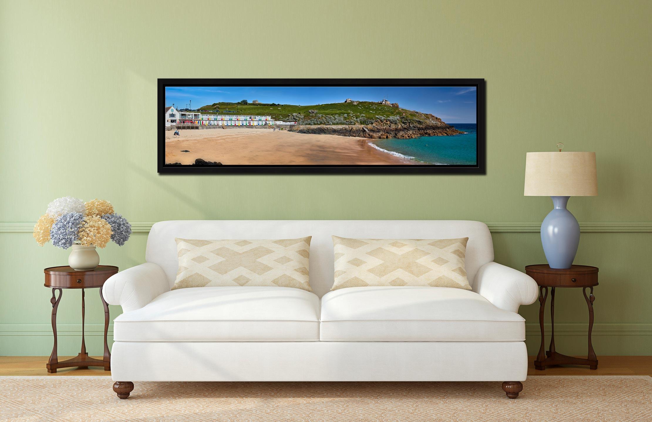 Porthgwidden Beach and The Island - Black oak floater frame with acrylic glazing on Wall