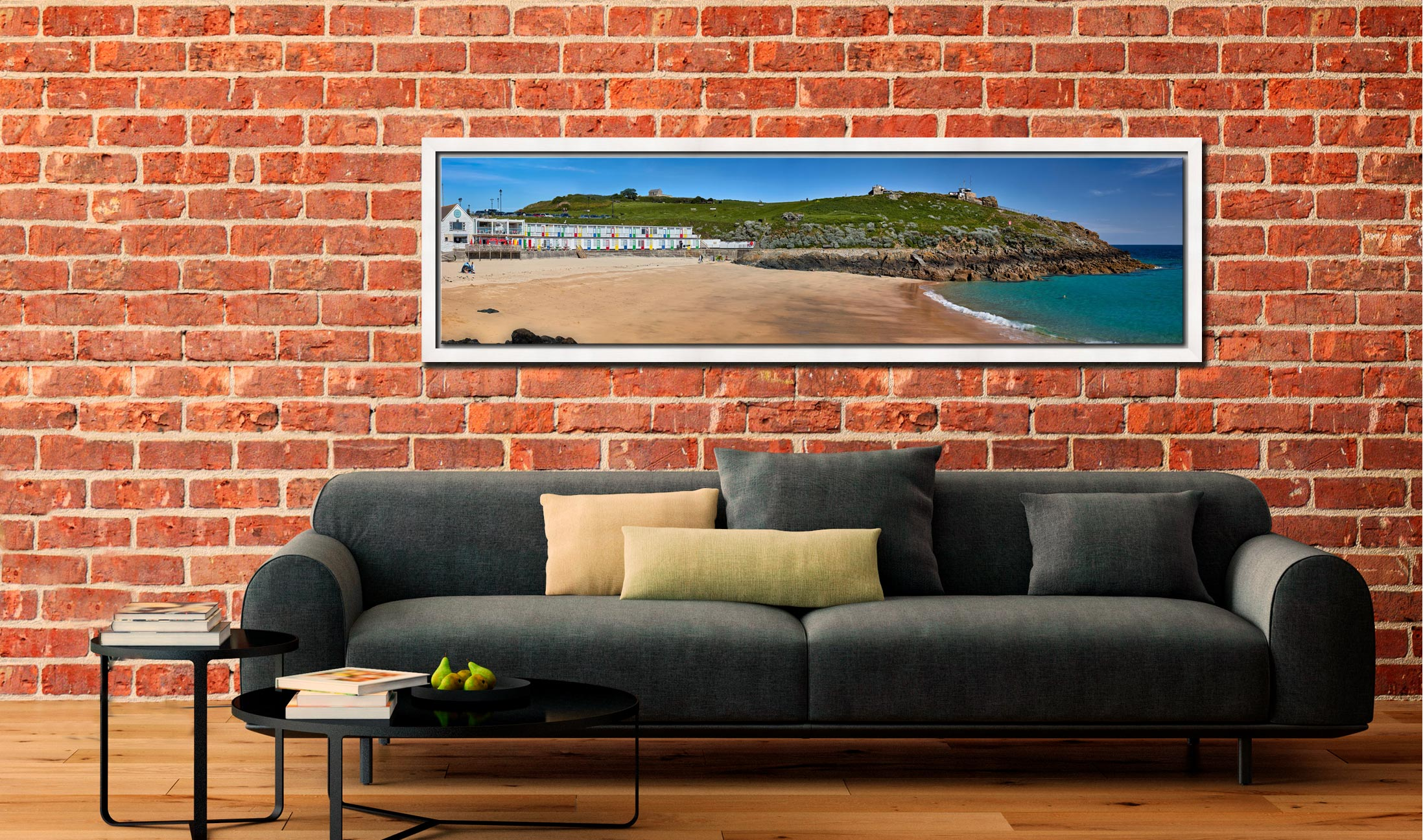 Porthgwidden Beach and The Island - White Maple floater frame with acrylic glazing on Wall