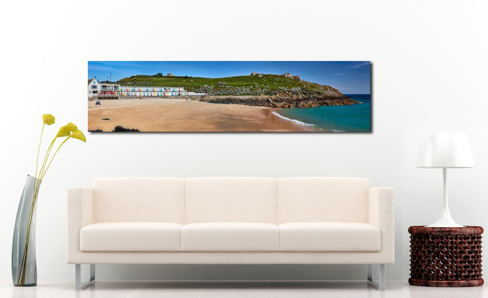 Porthgwidden Beach and The Island - Print Aluminium Backing With Acrylic Glazing on Wall