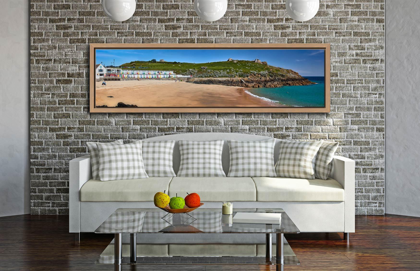 Porthgwidden Beach and The Island - Oak floater frame with acrylic glazing on Wall