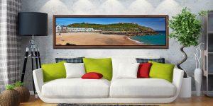 Porthgwidden Beach and The Island - Walnut floater frame with acrylic glazing on Wall