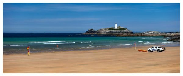 Godrevy Beach and Lighthouse - Cornwall Print