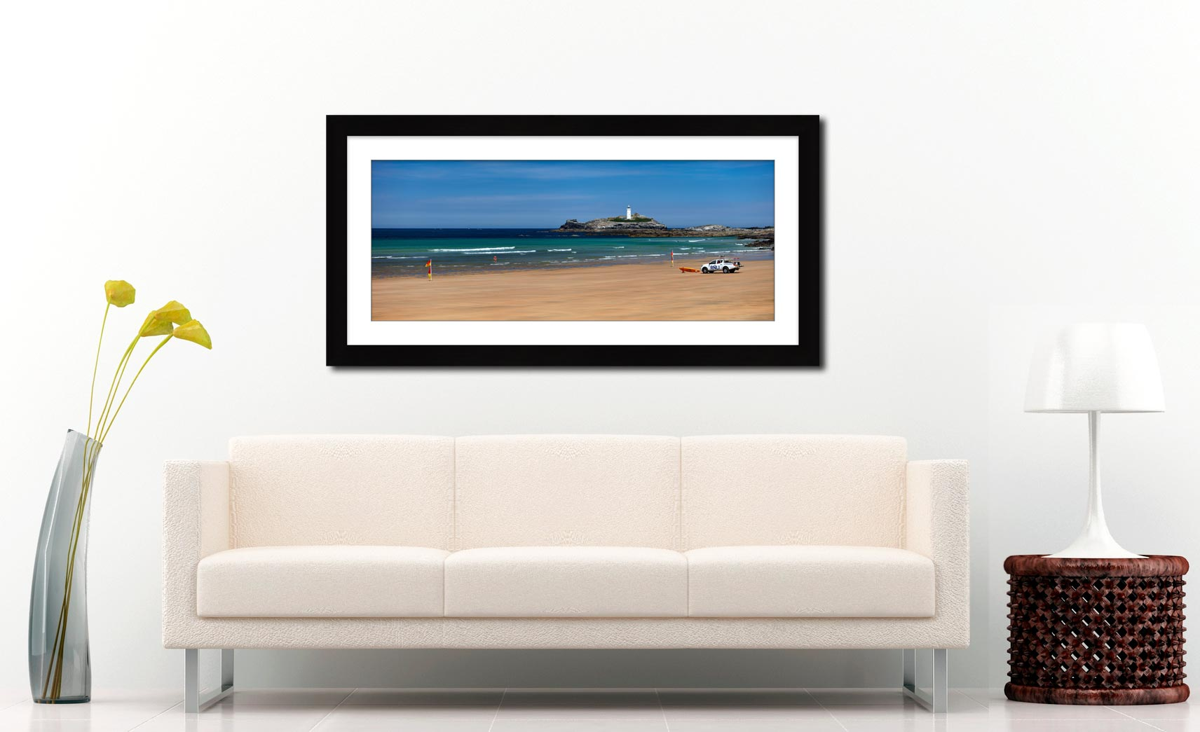 Godrevy Beach and Lighthouse - Framed Print with Mount on Wall