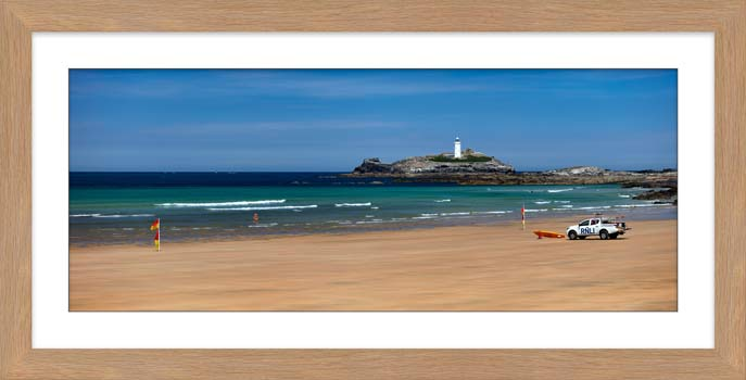 Godrevy Beach and Lighthouse - Framed Print with Mount