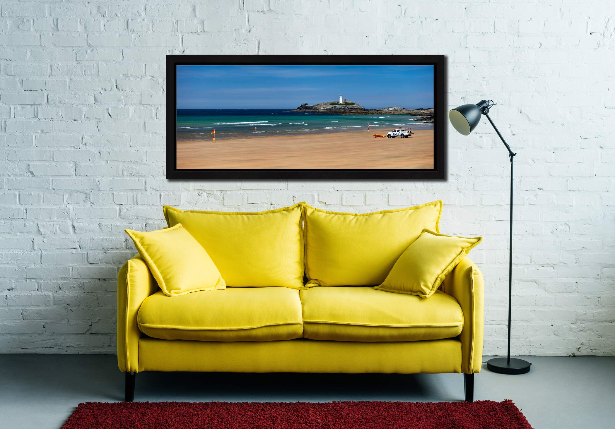 The golden sands of Godrevy Beach and Lighthouse in St Ives Bay - Black oak floater frame with acrylic glazing on Wall