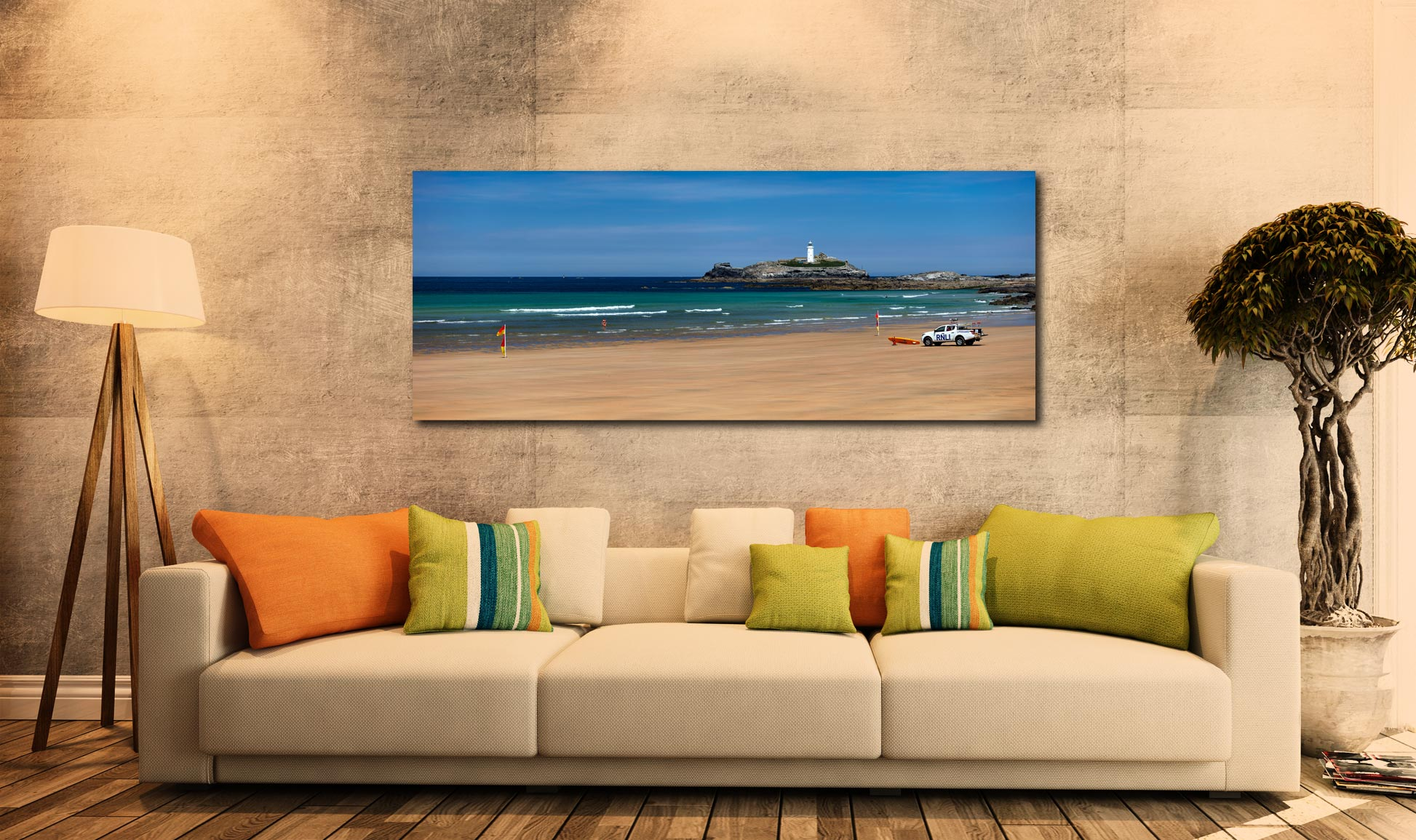 The golden sands of Godrevy Beach and Lighthouse in St Ives Bay - Print Aluminium Backing With Acrylic Glazing on Wall