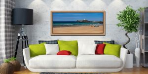 The golden sands of Godrevy Beach and Lighthouse in St Ives Bay - Oak floater frame with acrylic glazing on Wall