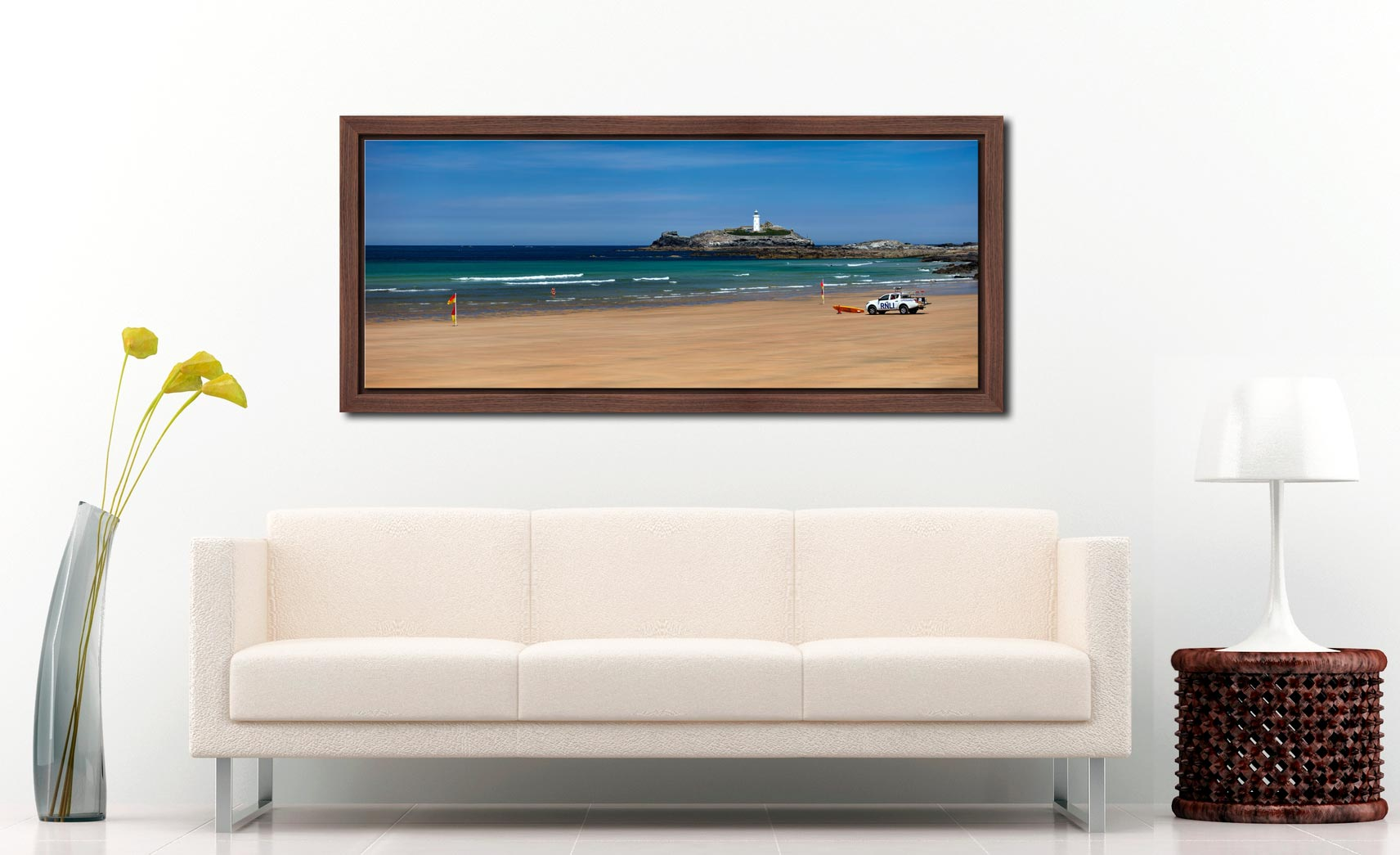 The golden sands of Godrevy Beach and Lighthouse in St Ives Bay - Walnut floater frame with acrylic glazing on Wall