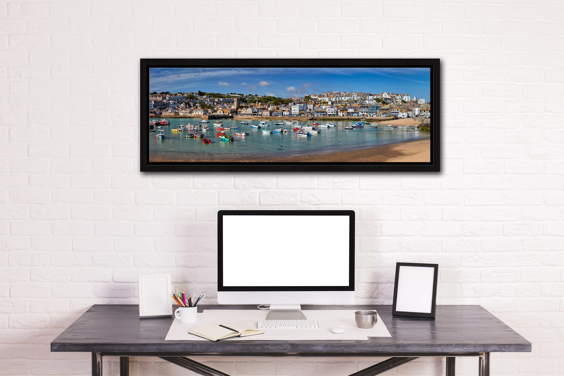 Panoramic view of St Ives harbour on a calm spring morning - Black oak floater frame with acrylic glazing on Wall