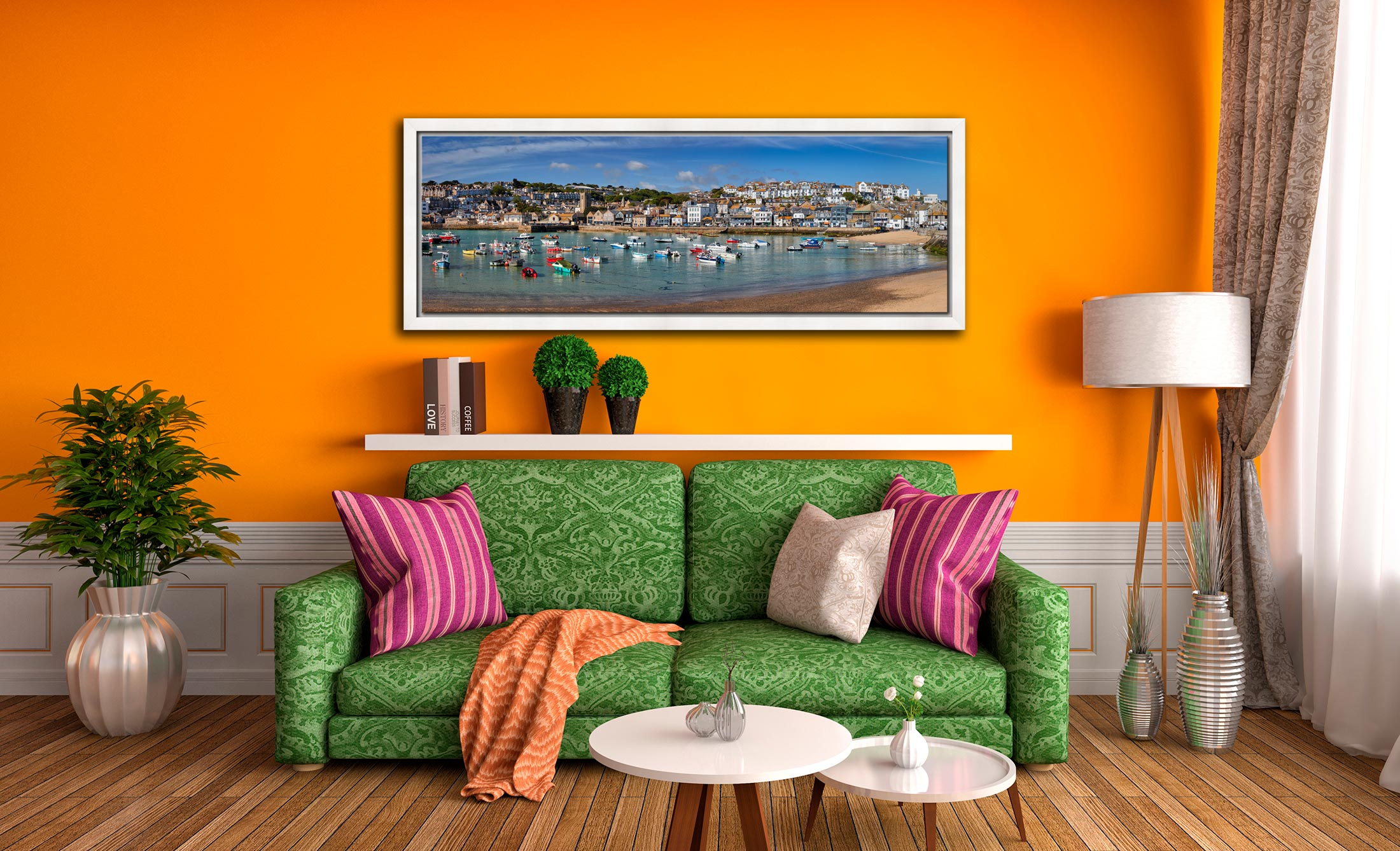 Panoramic view of St Ives harbour on a calm spring morning - White Maple floater frame with acrylic glazing on Wall