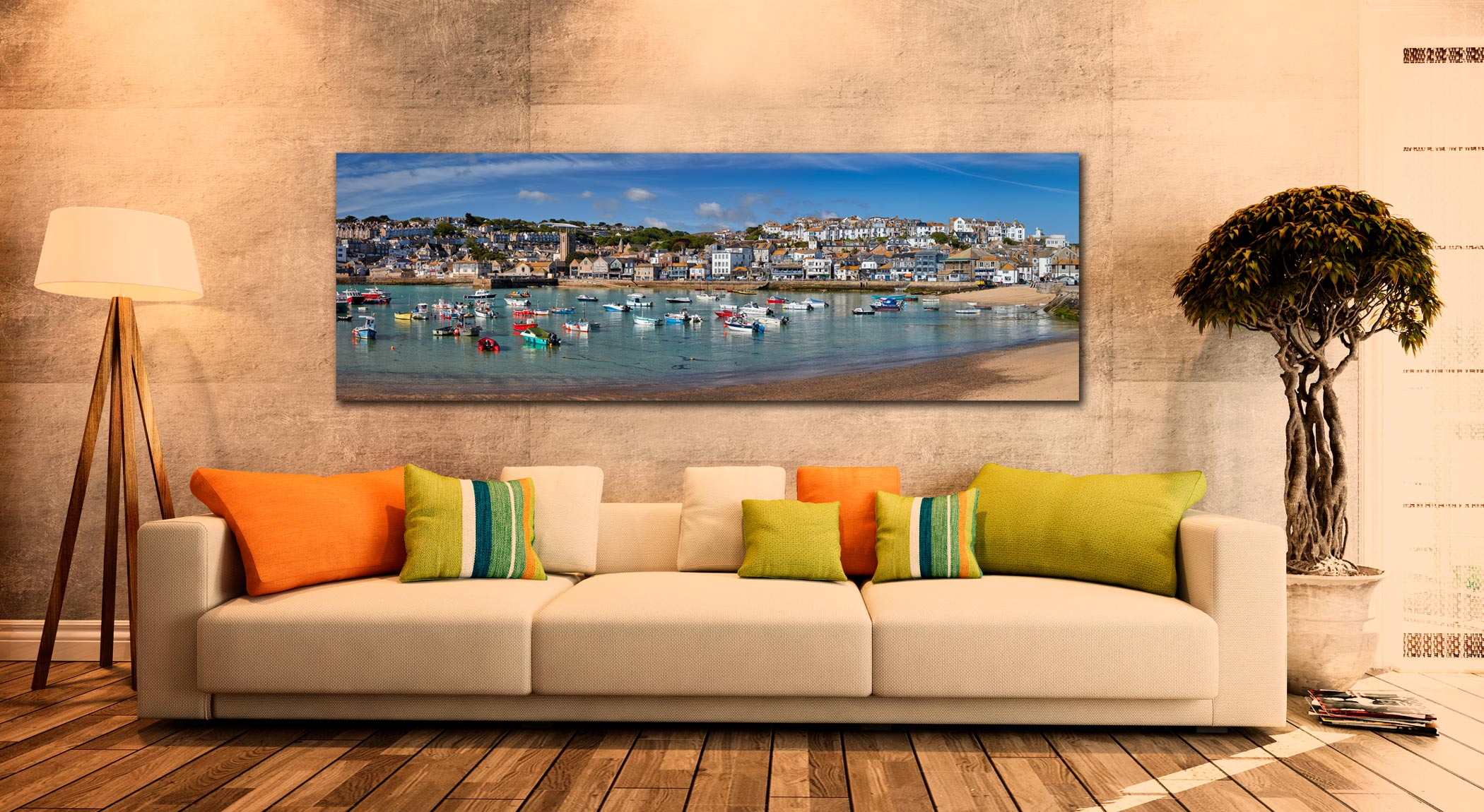 Panoramic view of St Ives harbour on a calm spring morning - Print Aluminium Backing With Acrylic Glazing on Wall
