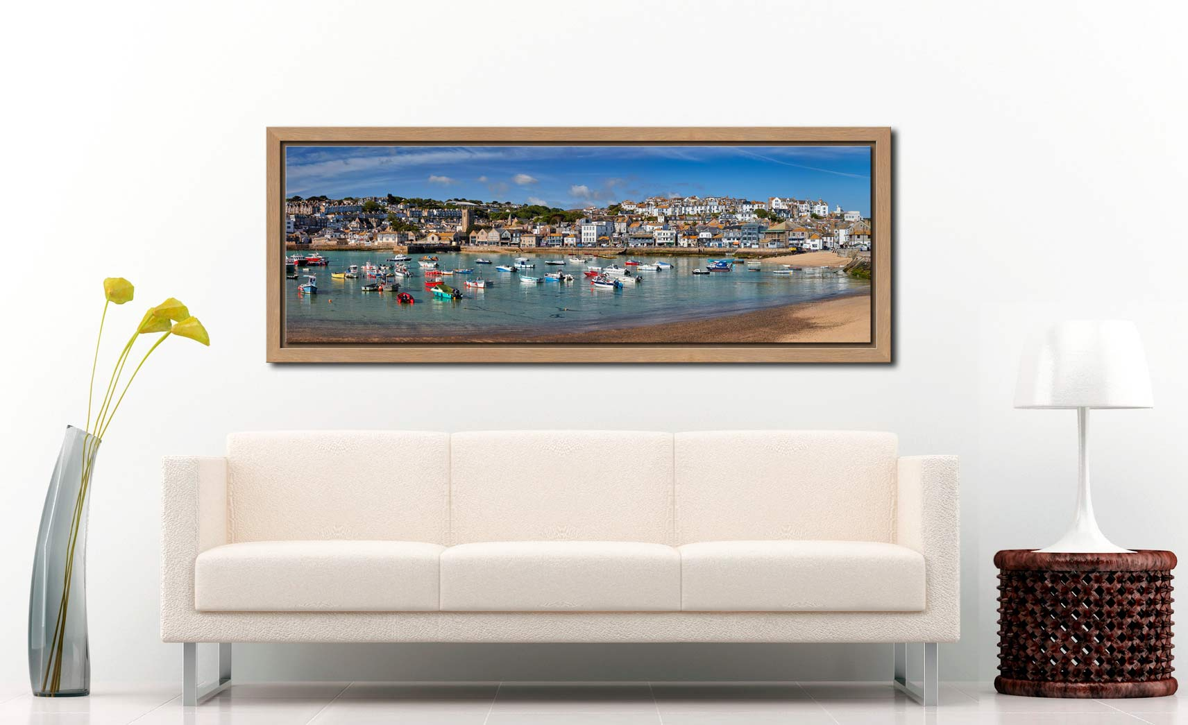 Panoramic view of St Ives harbour on a calm spring morning - Oak floater frame with acrylic glazing on Wall