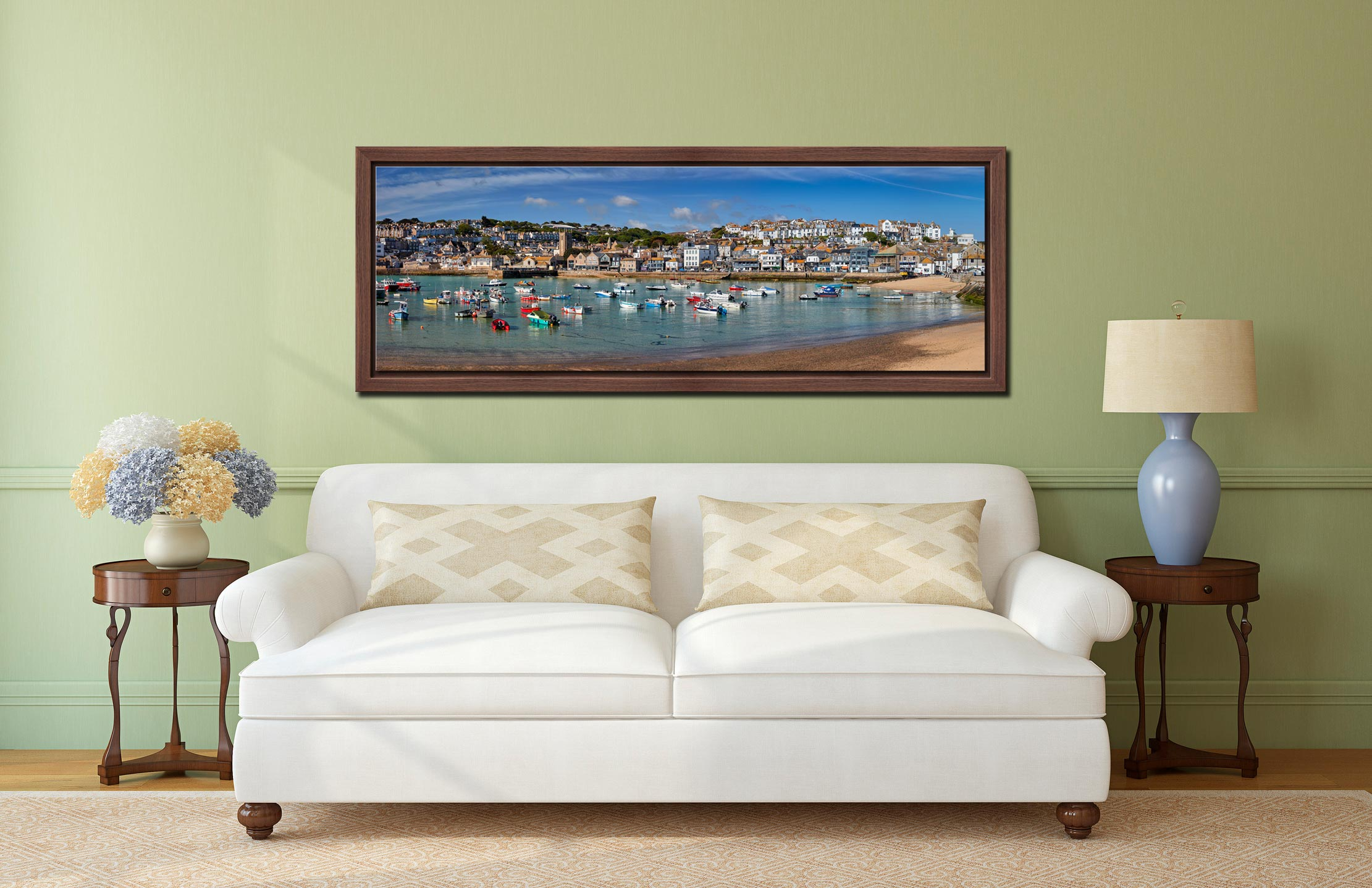 Panoramic view of St Ives harbour on a calm spring morning - Walnut floater frame with acrylic glazing on Wall