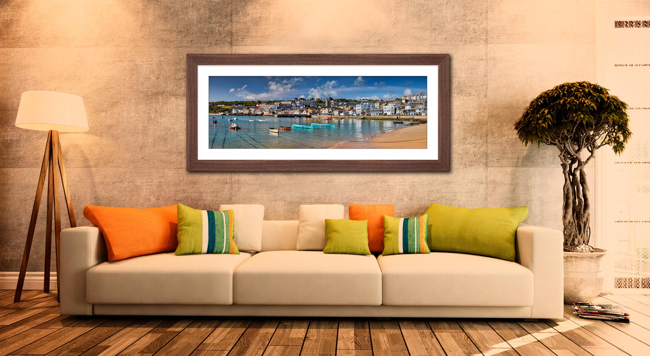 St Ives Harbour Silver Water - Framed Print with Mount on Wall