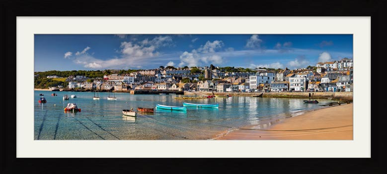 St Ives Harbour Silver Water - Framed Print with Mount