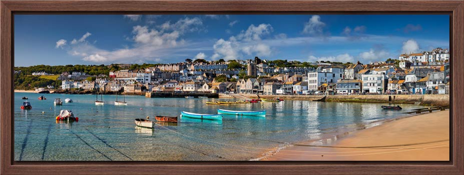 St Ives Harbour Silver Water - Modern Print