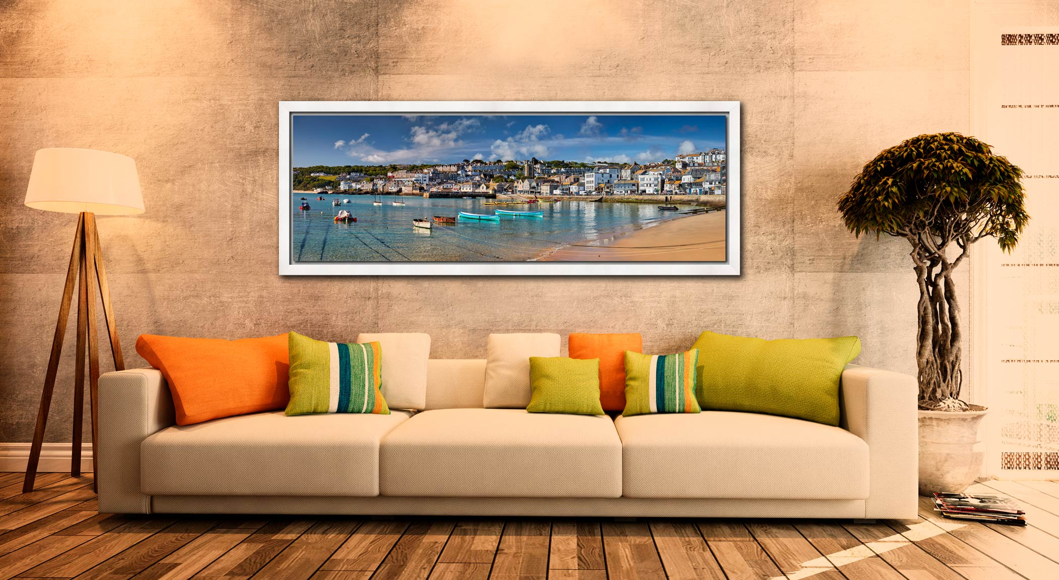 The crystal clear waters of St Ives harbour on a fine spring morning - White Maple floater frame with acrylic glazing on Wall