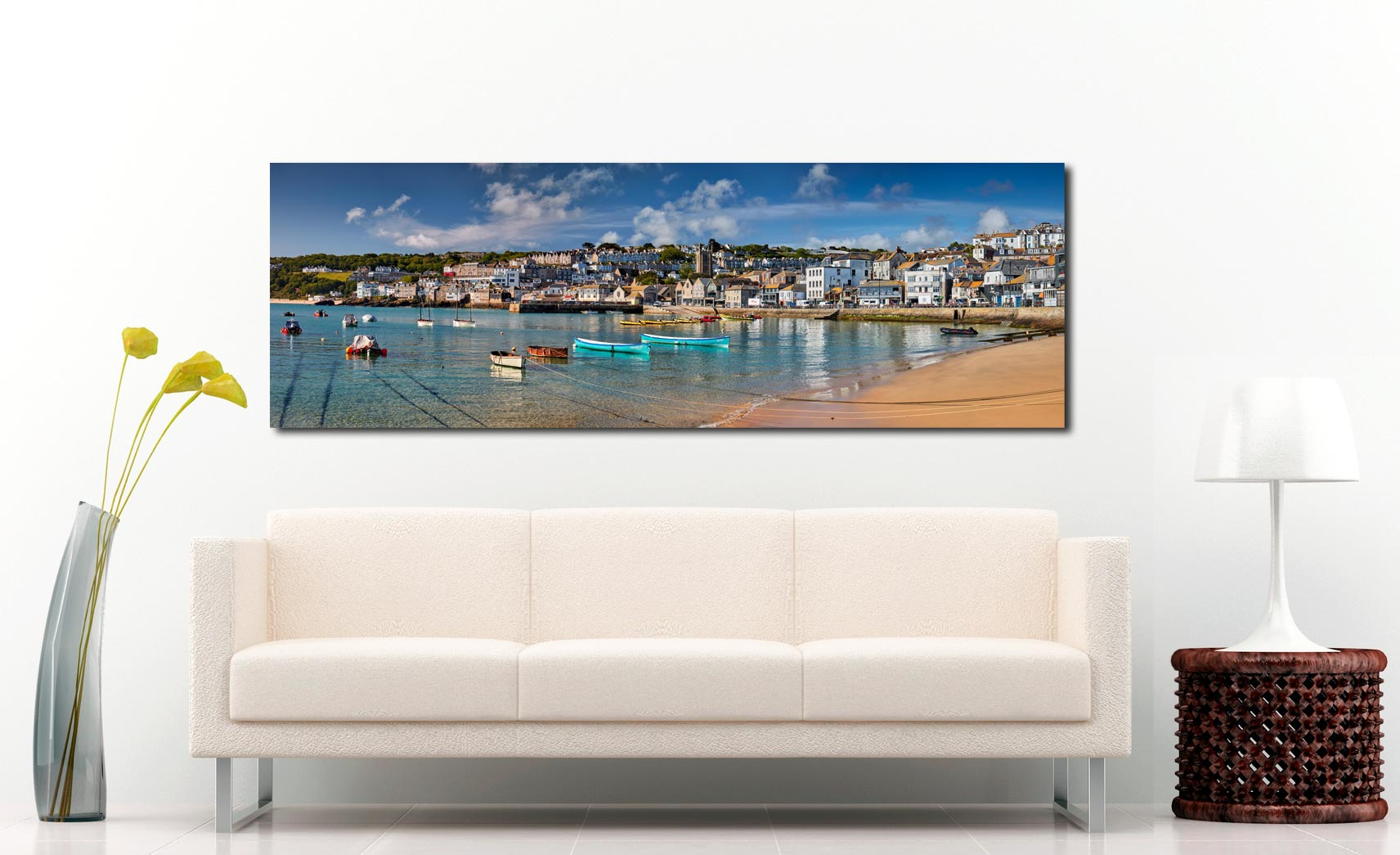 The crystal clear waters of St Ives harbour on a fine spring morning - Print Aluminium Backing With Acrylic Glazing on Wall