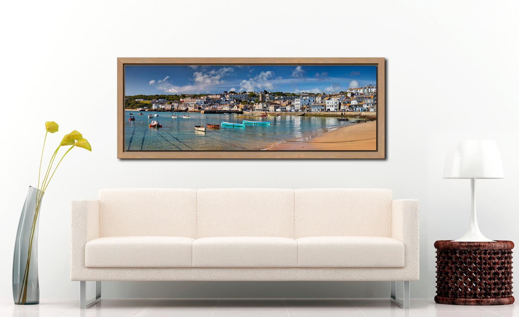 The crystal clear waters of St Ives harbour on a fine spring morning - Oak floater frame with acrylic glazing on Wall