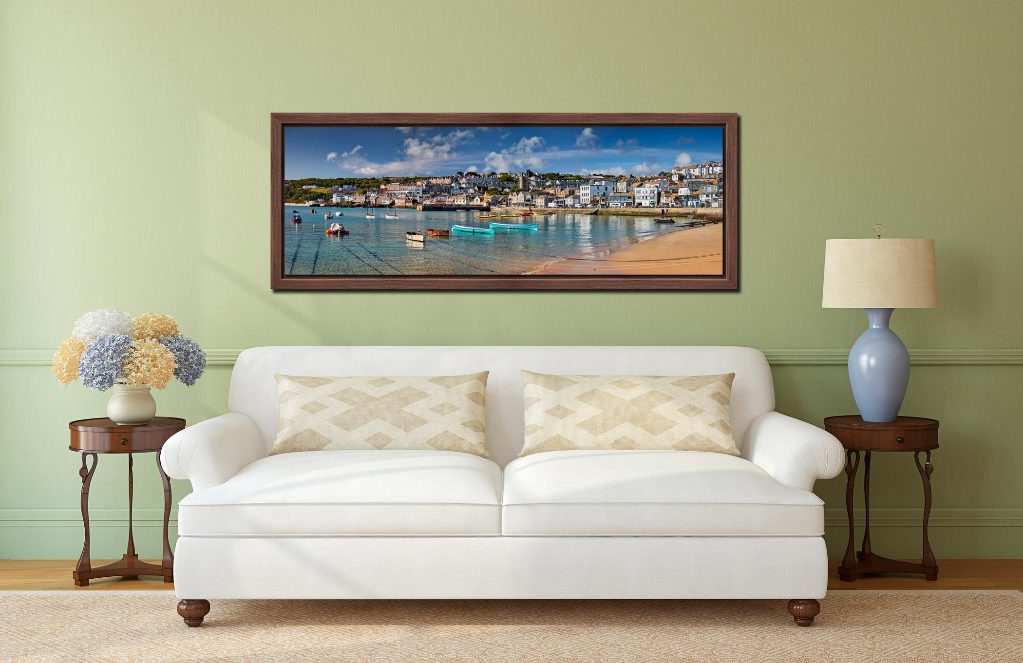 The crystal clear waters of St Ives harbour on a fine spring morning - Walnut floater frame with acrylic glazing on Wall