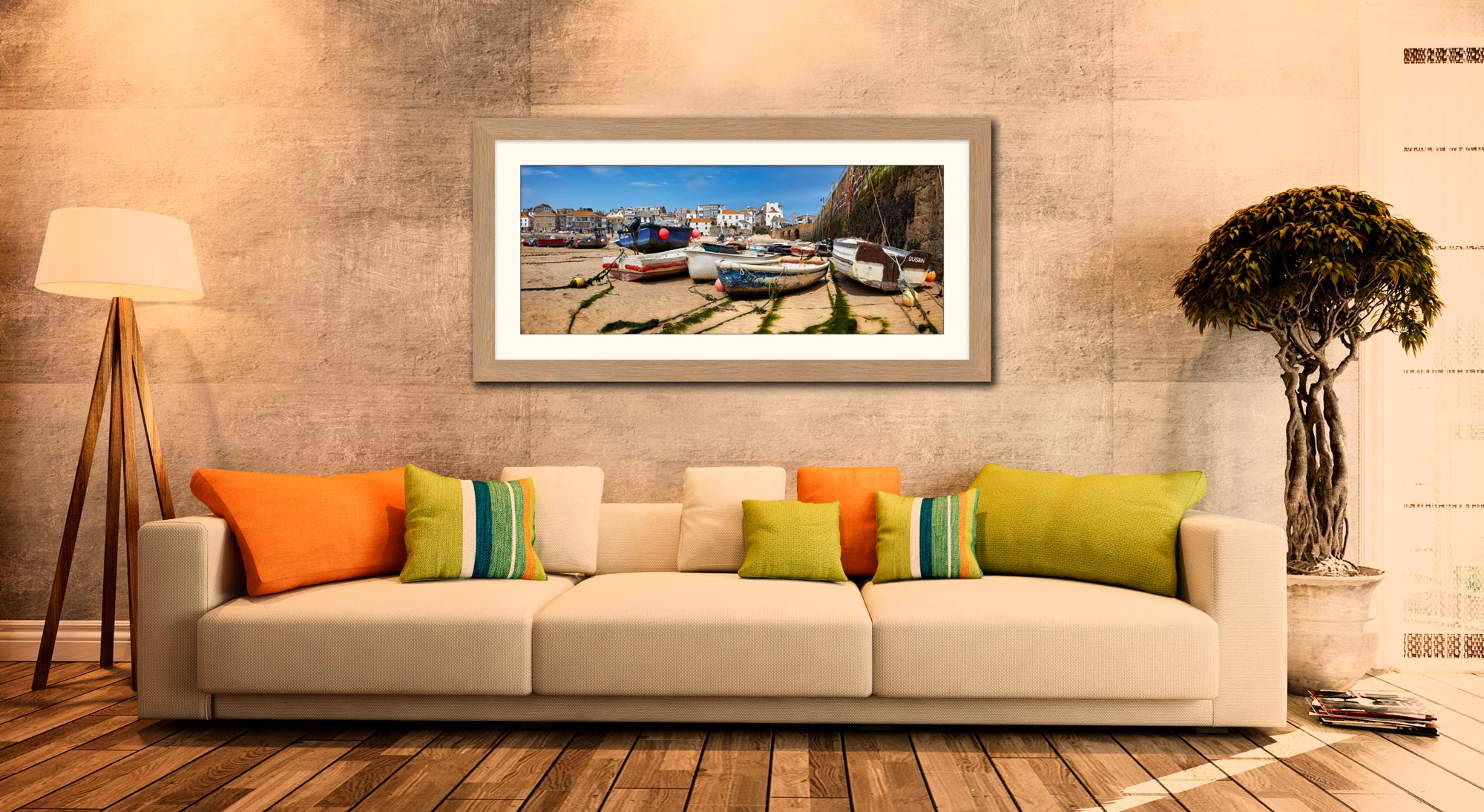 Boats on the Sand - Framed Print with Mount on Wall