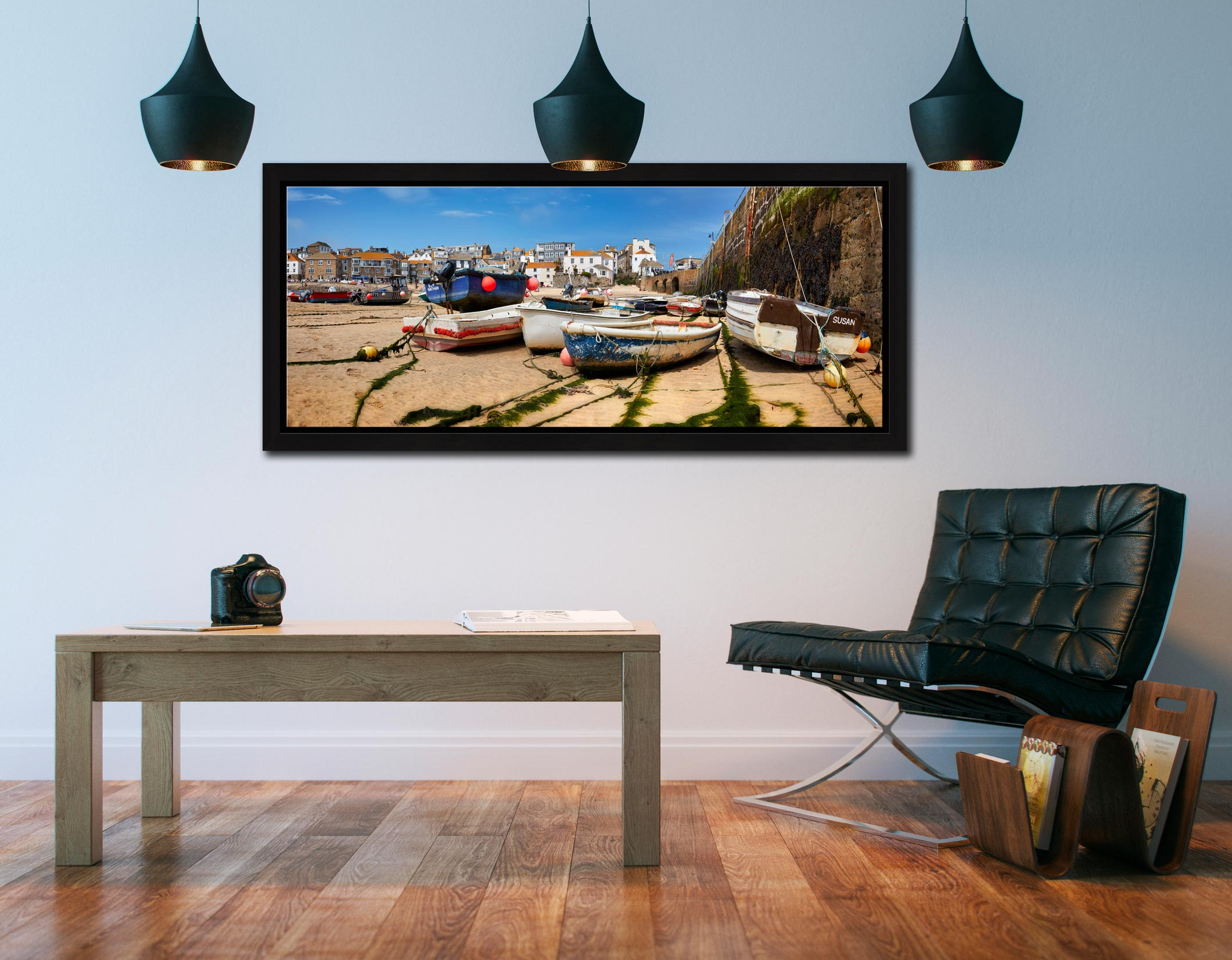 Boats on the sands of St Ives harbour - Black oak floater frame with acrylic glazing on Wall