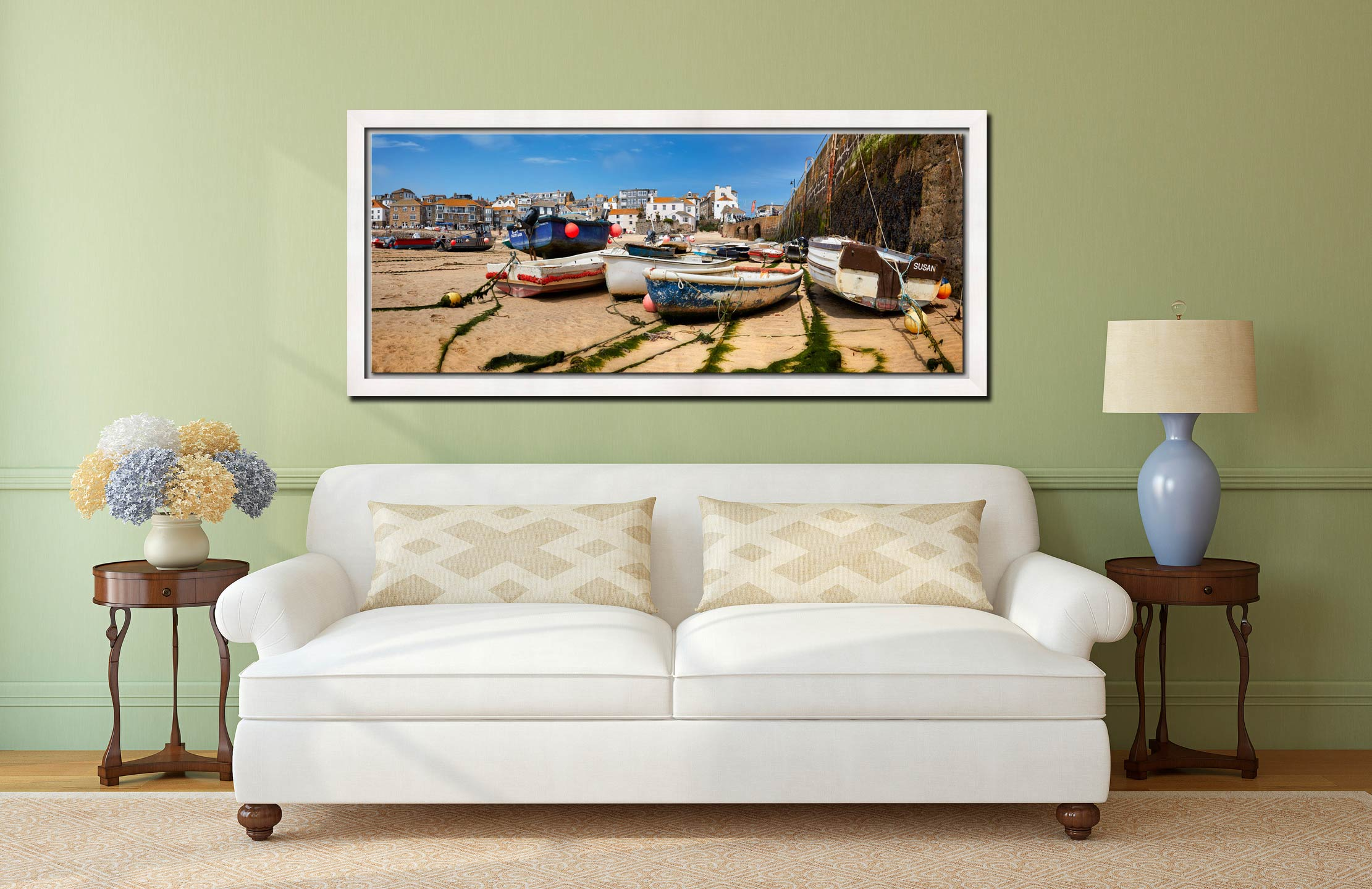 Boats on the sands of St Ives harbour - White Maple floater frame with acrylic glazing on Wall